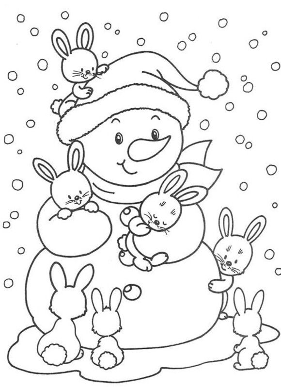 Cute Bunnies And Snowman Free Winter Coloring Pages  00