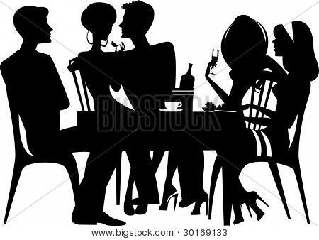 Silhouettrs Of Tanbles Silhouette Of People Sitting At Table