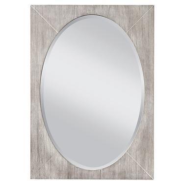 Seaside White Wash Gray Mirror, Whitewash Oval Wood Wall Mirror