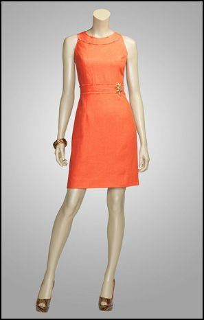 A perfect ladylike dress for summer - beautiful coral color, detachable starfish pin, matching short jacket available for cooler nights.