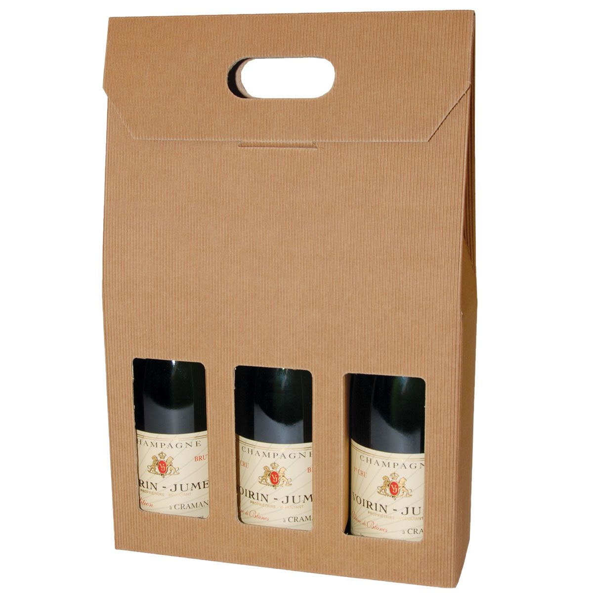 3 bottle gift carton in natural fluted board with windows ...