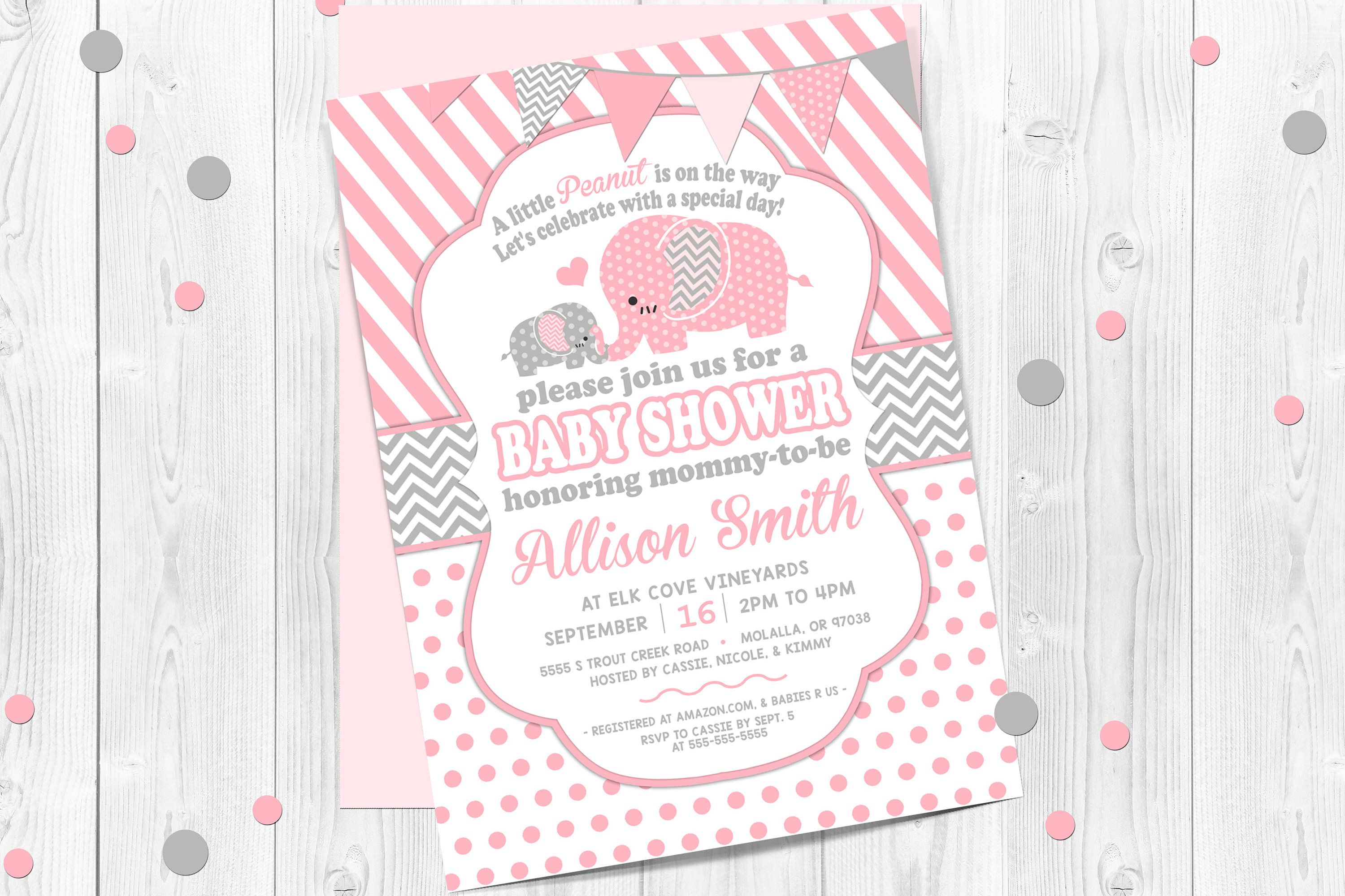Girls, Elephant Baby Shower Invitation, Pink and Gray Stripes, Pink ...