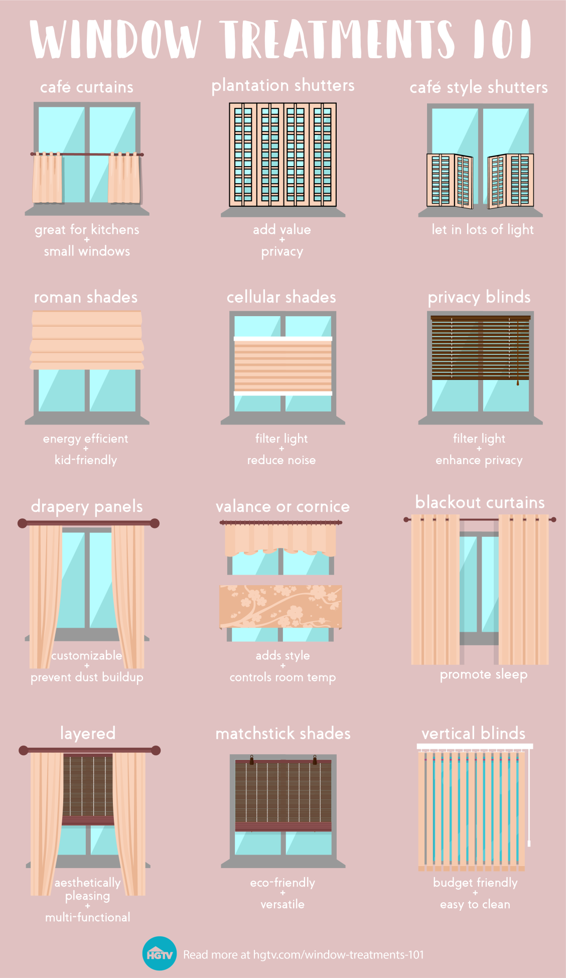 Learn The Pros And Cons Of Today S Most Popular Window Treatment Styles Before You Window Treatment Styles Popular Window Treatments Window Treatments Bedroom