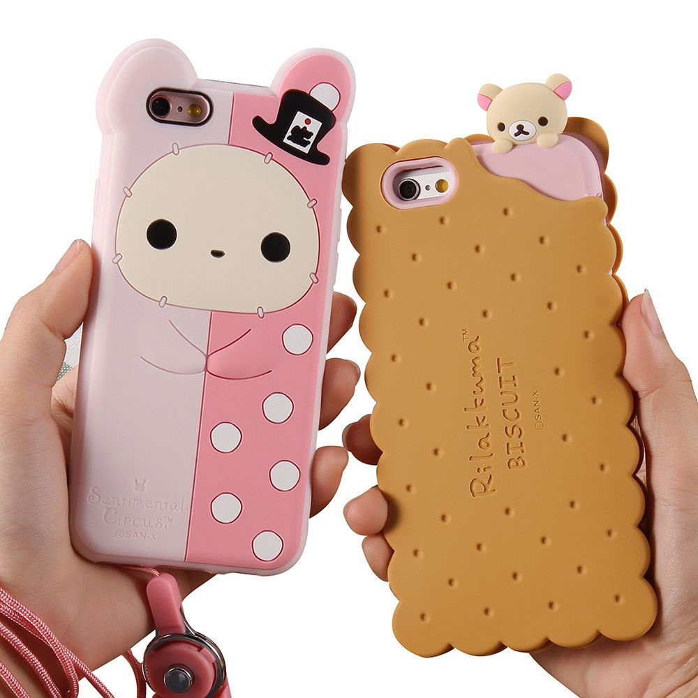 Cute 3d biscuits bear rilakkuma soft silicone case cover for Coque iphone 5 miroir