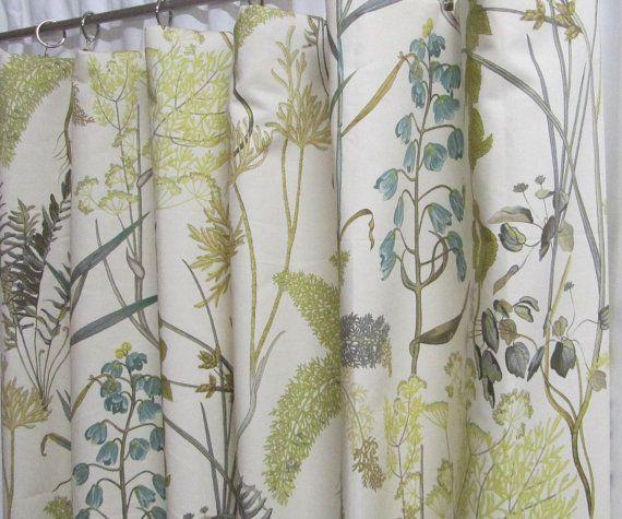 Neutral Window Curtains Botanical Floral Curtains Rod Pocket