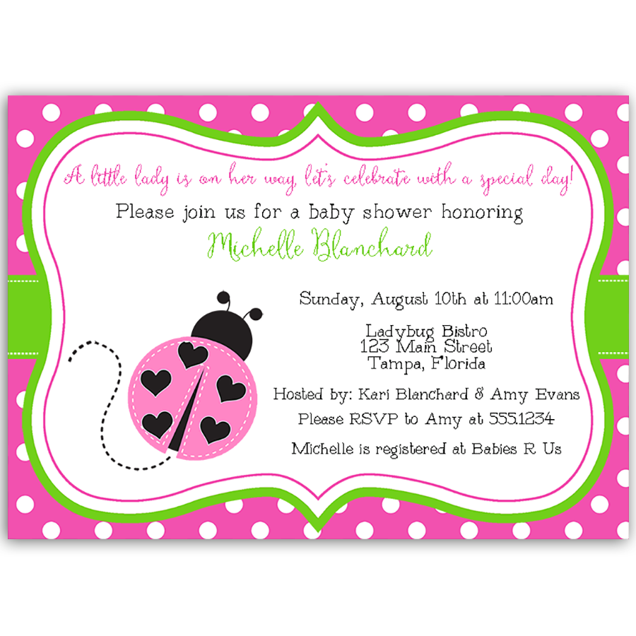 Lil\' Ladybug, Pink and Green, Baby Shower Invitation | invitaciones ...