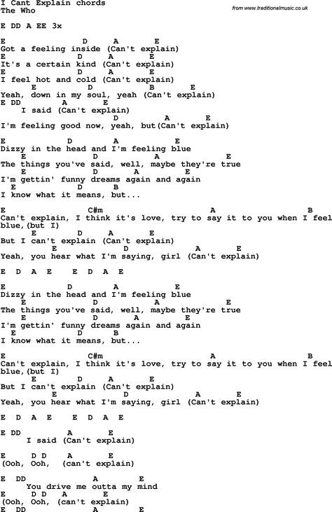 Song Lyrics With Guitar Chords For I Cant Explain Sheet Music
