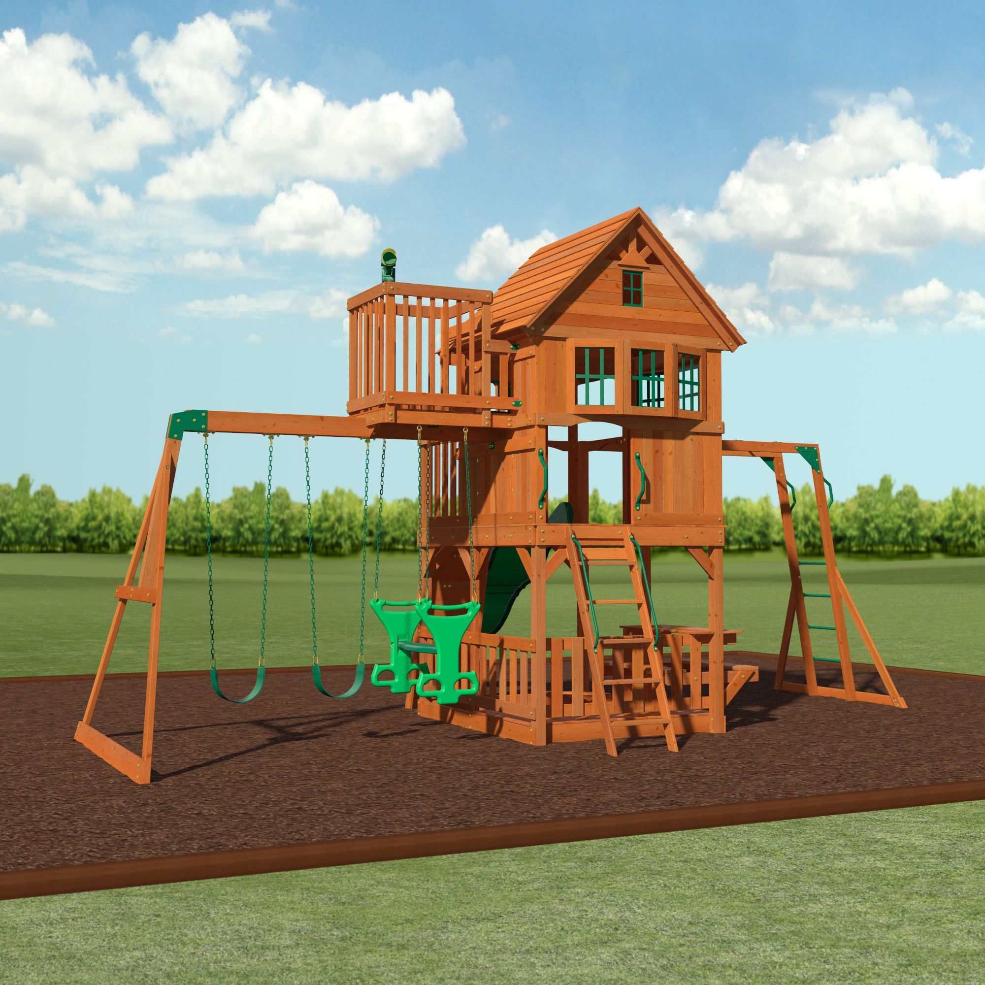 Skyfort Ii Wooden Swing Set Backyard Discovery 12 5 Sams
