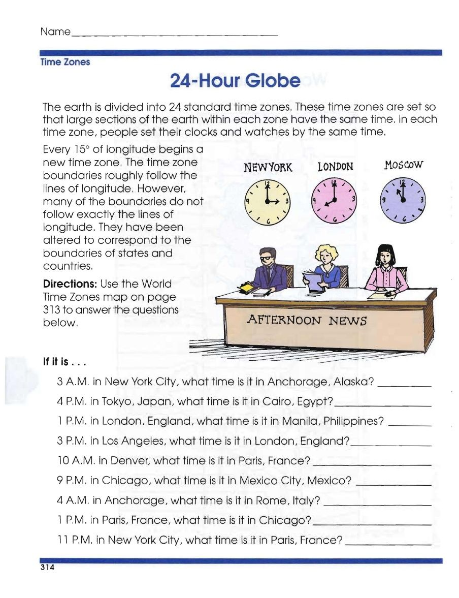 Global Geography Worksheets 1 Time Zones  Geography worksheets