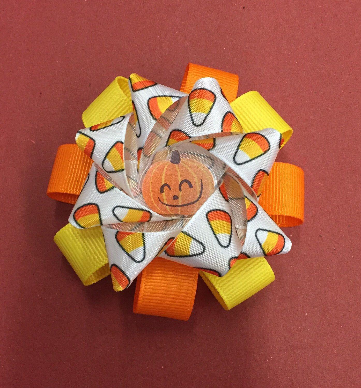 Halloween candy corn pumpkin October double pop up hair