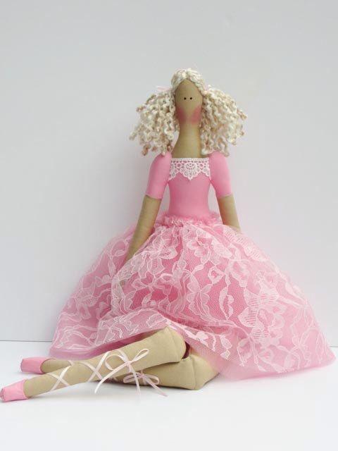 Fabric doll Tilda ballerina doll pink blonde cloth doll cute stuffed doll art doll softie plush doll  - gift for girls by HappyDollsByLesya on Etsy https://www.etsy.com/listing/214564328/fabric-doll-tilda-ballerina-doll-pink