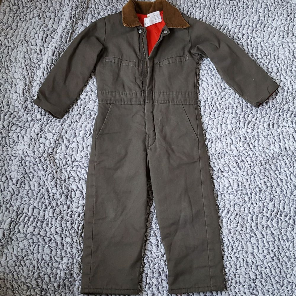 b5f9581fd076 VTG Boys Key Imperial Coveralls Size 6 Youth Insulated Green Workwear  Overalls  KeyImperial