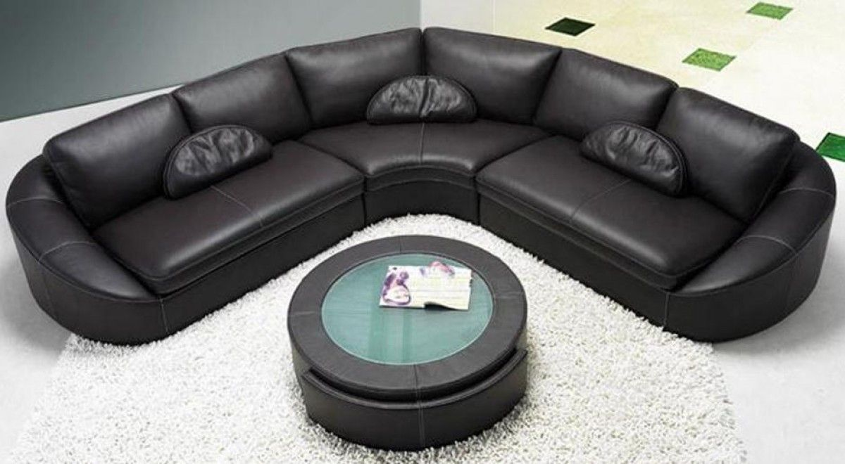 Modern Black Leather Sectional Sofa With Coffee Table Sectional