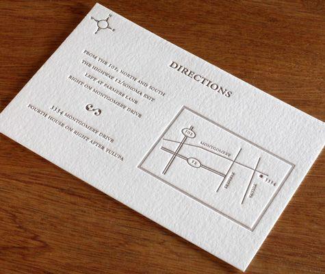 Classic Monogram Letterpress Wedding Map Letterpress Wedding Invitations Directions Cards Wedding Direction Cards