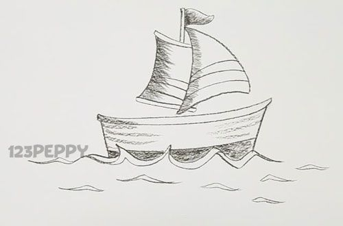 How To Draw A Cartoon Boat Tutorial Online 123peppy Com Boat Cartoon Doodle Art Drawings
