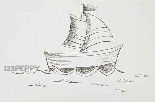 How to Draw a Cartoon Boat Tutorial Online: 123Peppy.com