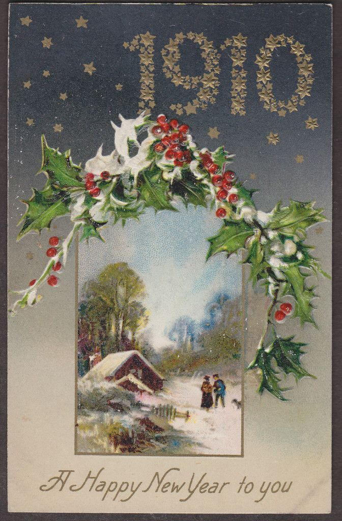 New Year card, 1910 New year postcard, Vintage holiday