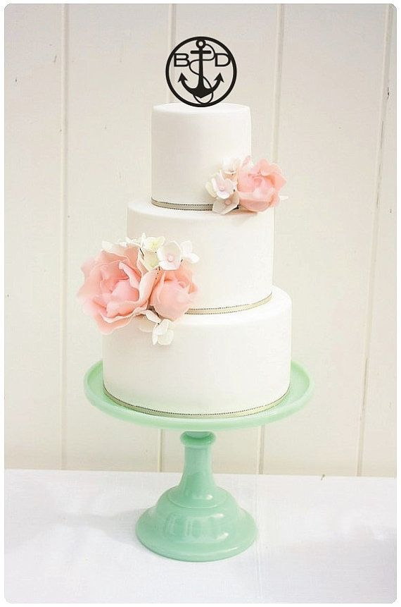 Wedding Cake Topper Anchor Monogram Circle Design 5 Inch Personalized With YOUR Initials