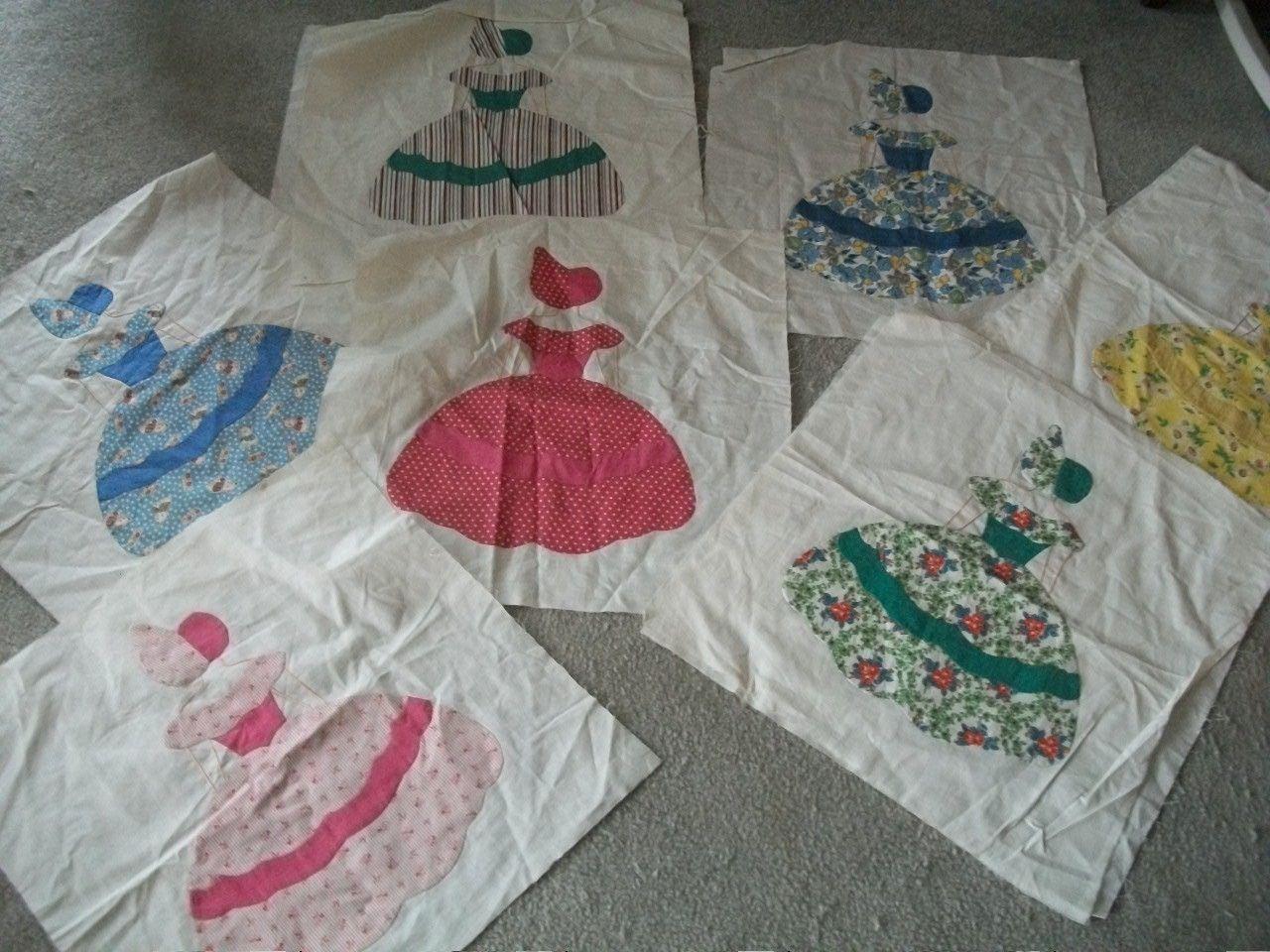 10 Vintage Sunbonnet Lady Quilt Blocks Hand Sewn Just
