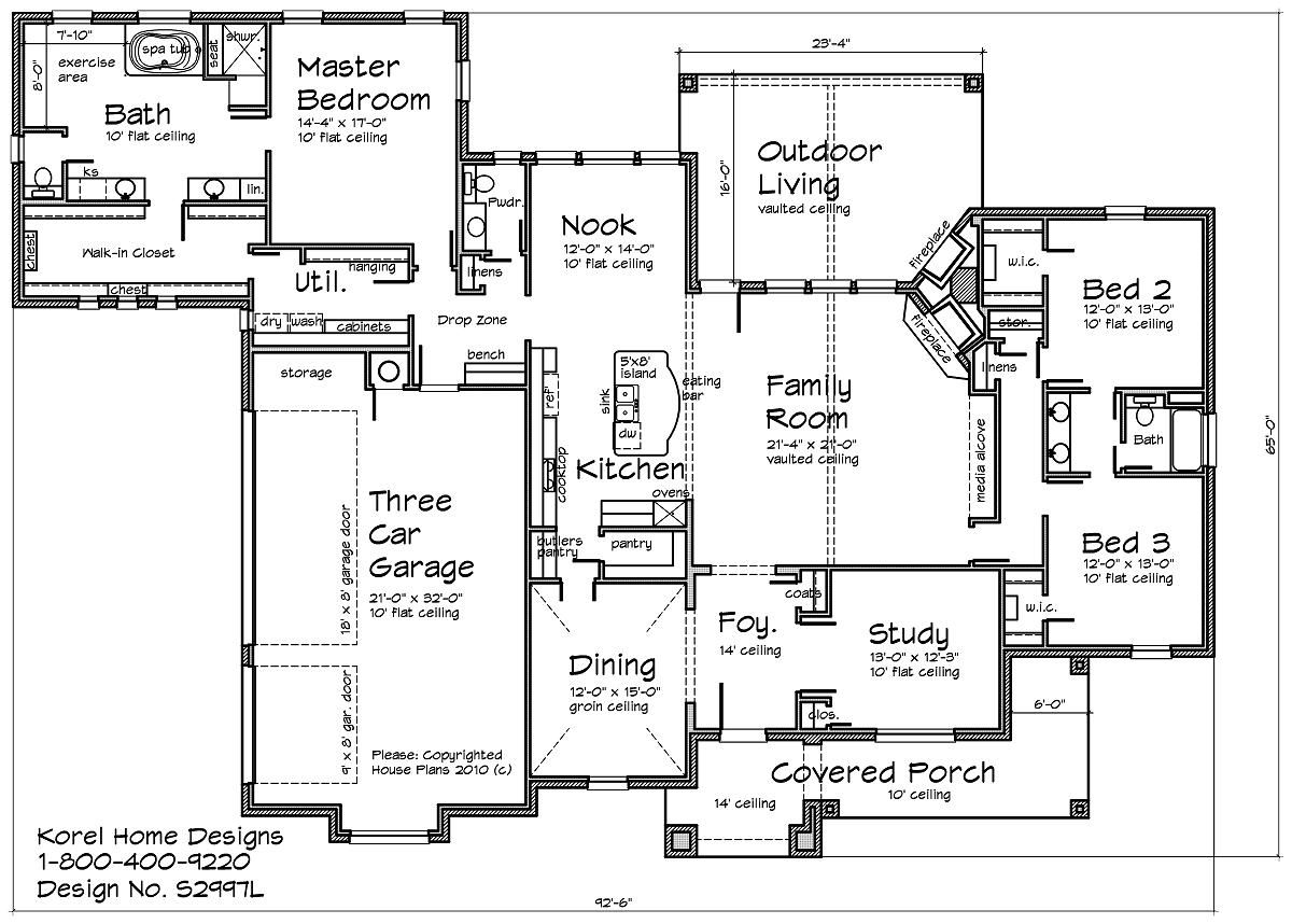 house plans by korel home designs i like the master closet connected to the laundry - Home Design House Plans