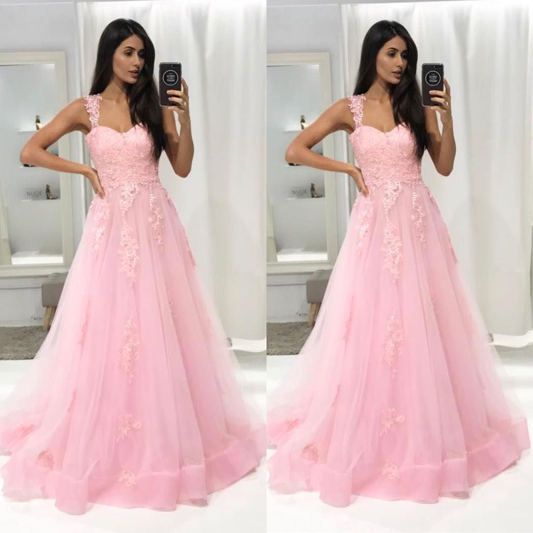 Soft Organza Prom Dresses,Sweep Train Prom Dresses,Lace Appliques ...