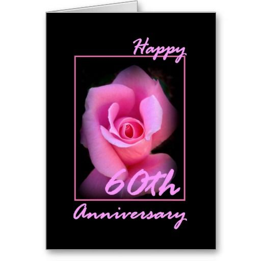 60th Wedding Anniversary Card with Pink Rosebud