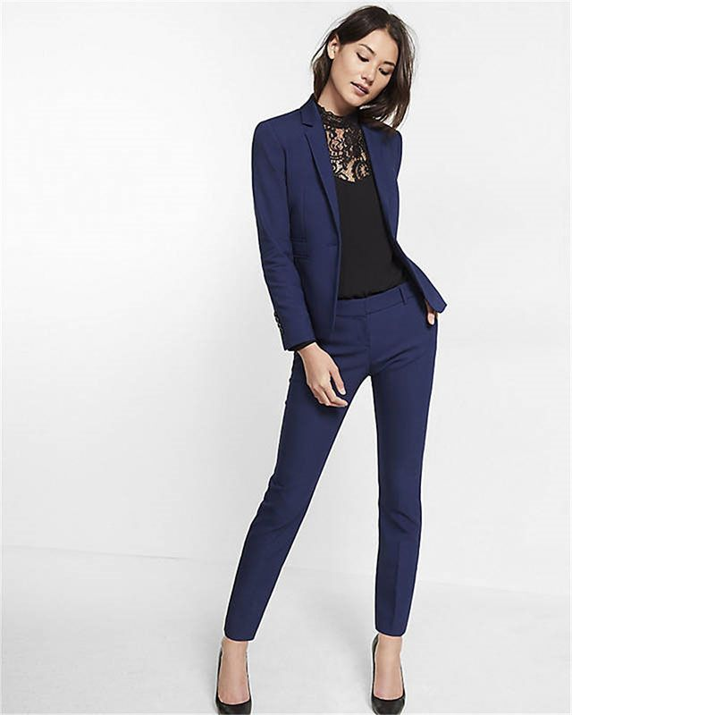 Fashion Style Custom Navy Blue Work Bussiness Formal Elegant Women Suit Set Blazers And Pants Office Suits Ladies Pants Suits Trouser Suits Great Varieties Suits & Sets