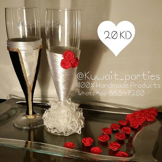 Weddings Bridal Shower Parties On Instagram قلاصات معاريس مع صينية تقديم Glasses Wedding Engagement Engaged Party Br Champagne Flute Handmade Flute