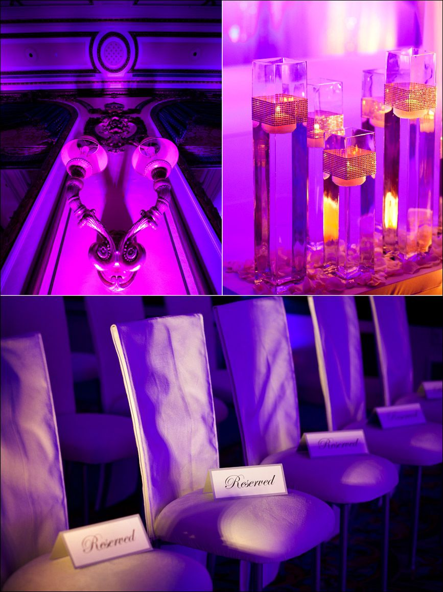 purple and magenta wedding accents at fairmont hotel in san