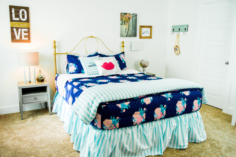Flroal + Stripes! Love this bedding Floral bedroom decor