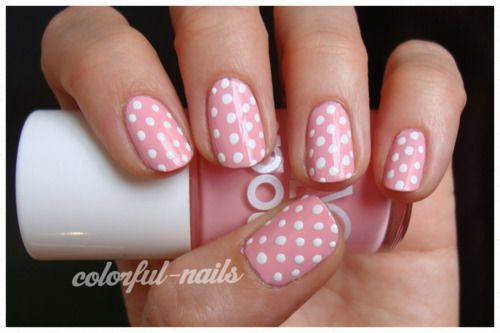 Pin By Faye Lee On Pink And White Nails Polka Dot Nail Designs Pink Nail Art Designs Polka Dot Nails