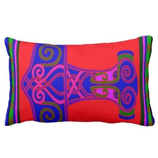 Norse Viking Hammer designer throw pillow from Zazzle shop:  WitchesHammer