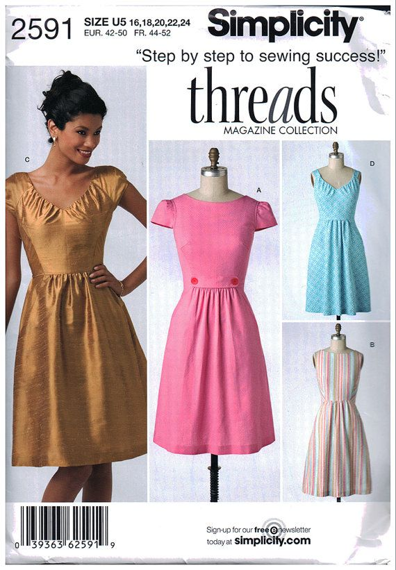 Simplicity 2591 Threads Magazine Collection Misses\' Dress with ...