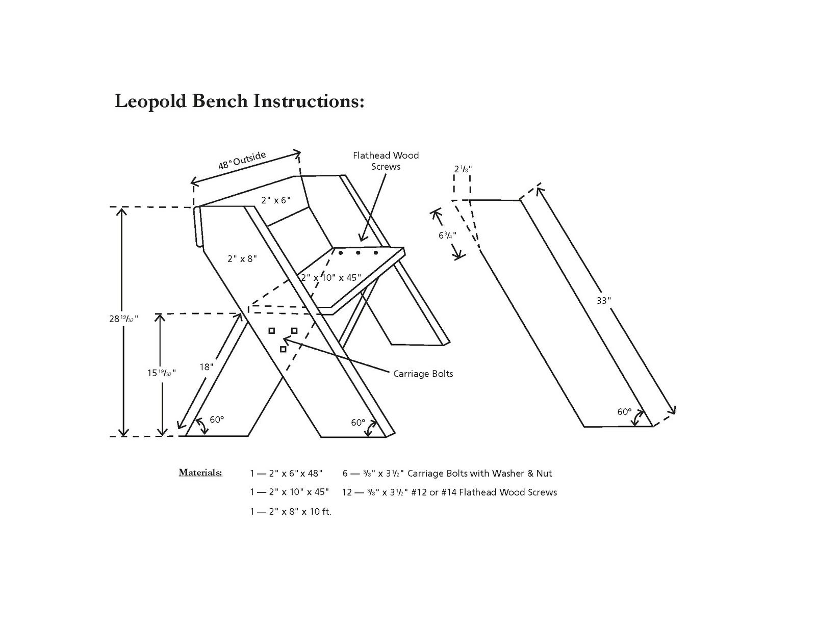 Aldo Leopold Bench Instructions