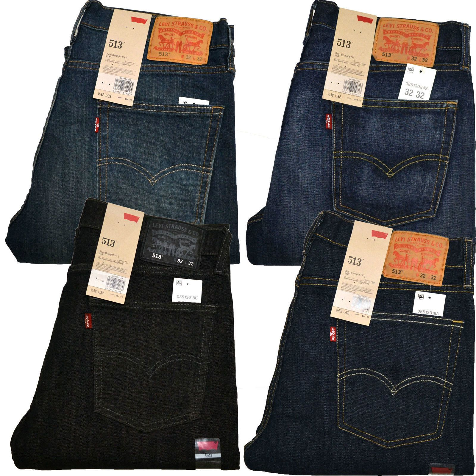 Jeans 11483: Levis 513 Jeans Slim Straight Stonewashed Blue Black Indigo  White All Sizes New -> BUY IT NOW ONLY: $34.99 on eBay!