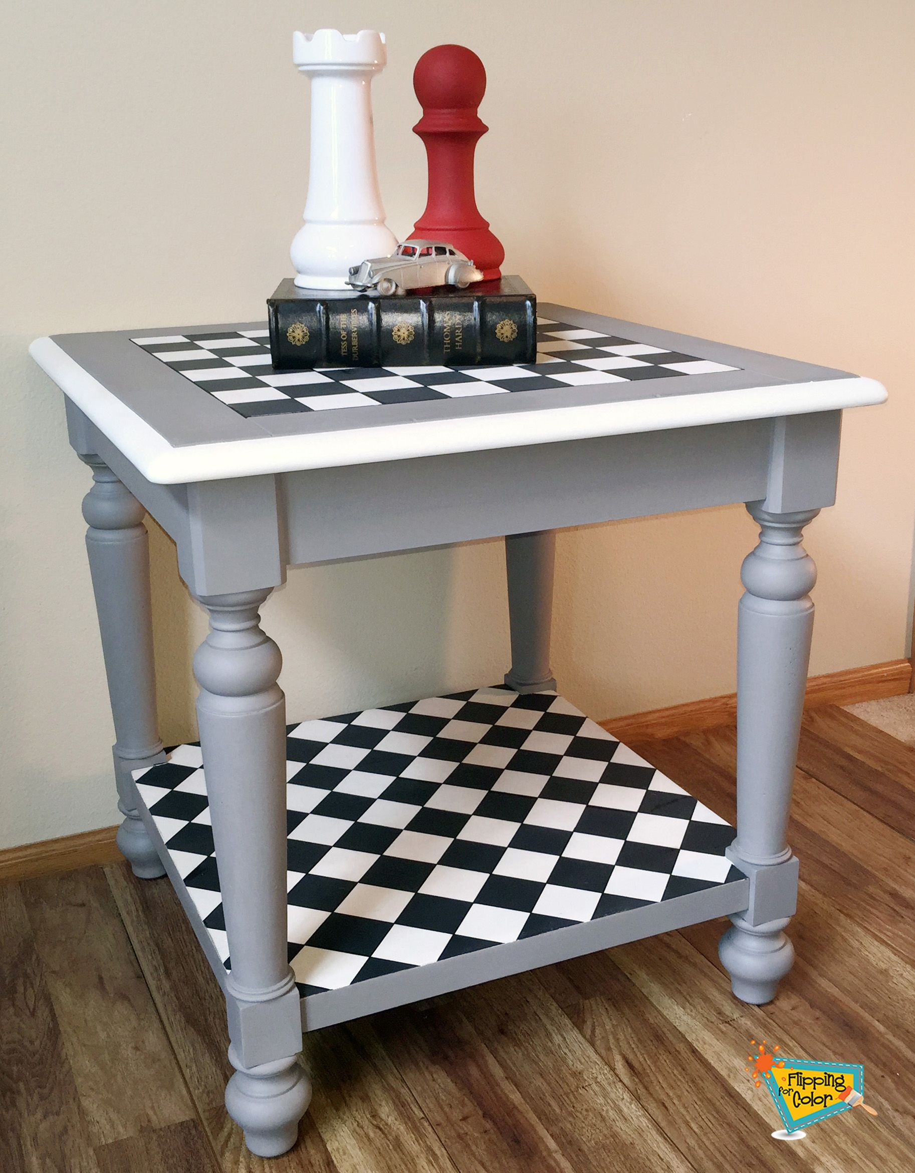 This Fun Table Features A Black And White Hand Painted Checkerboard Pattern On Top Perfect F Painted Coffee Tables Painted Furniture White Painted Furniture [ 2342 x 1826 Pixel ]