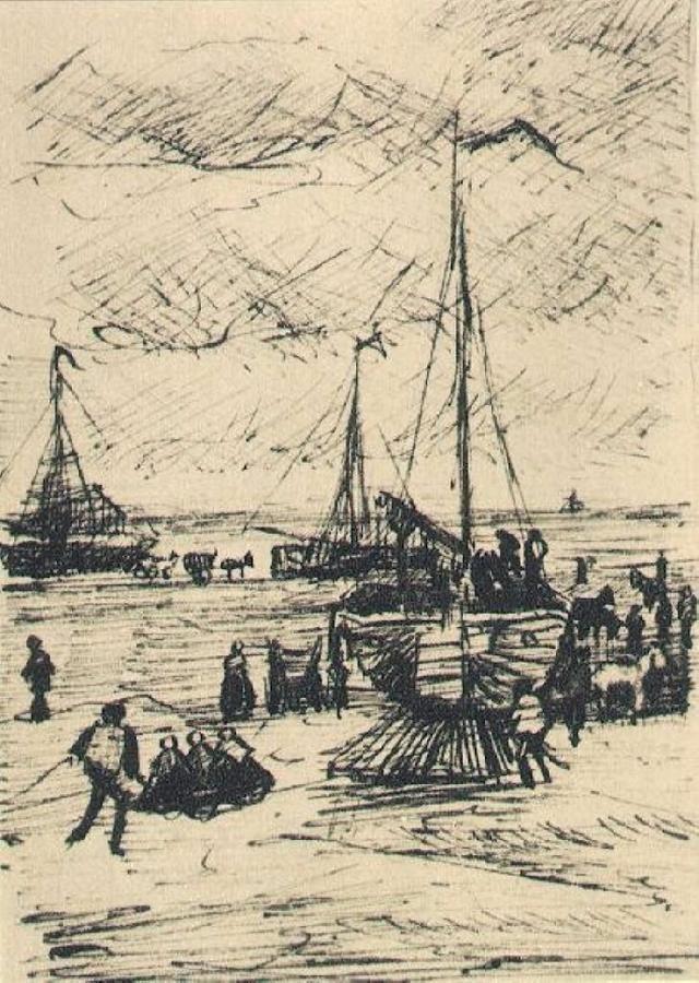 Beach and Boats -   Vincent van Gogh · 1882