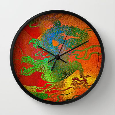 The Powerful Dragon Does Not Manage To Overcome The Local Tyrant Wall Clock By Shiva Camille Wall Clock Clock Green And Orange