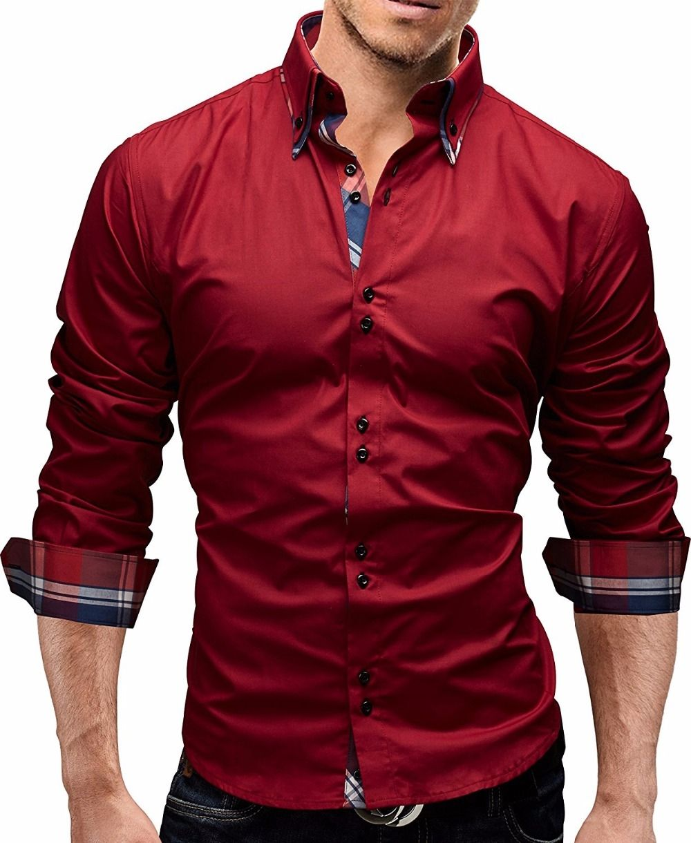 Men shirt spring new brand business menus slim fit dress shirt
