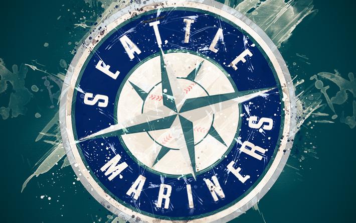 Download Wallpapers Seattle Mariners 4k Grunge Art Logo American Baseball Club Mlb Green Background Emblem Seattle Washington Usa Major League Baseba Seattle Mariners Grunge Art Creative Art