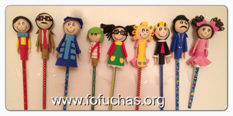 La Vecindad del Chavo Del 8 In fofulapiz (pencil Toppers) Handmade characters using foam sheets. Can make super cute birthday favors like us at www.facebook.com/fofuchashandmadedolls . #el chavo del ocho #crafts #fofuchas