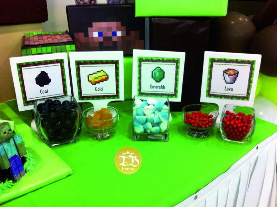 Minecraft candy bar Cumpleaños temática Minecraft Managua Nicaragua Indira Baldelomar Event Planner