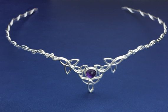 Amethyst Celtic Bridal Sterling Silver Circlet by Kelly