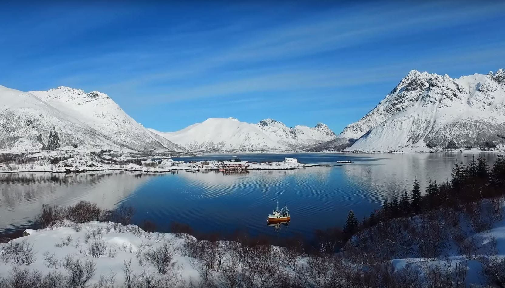 Lofoten in Winther - 4k drone video