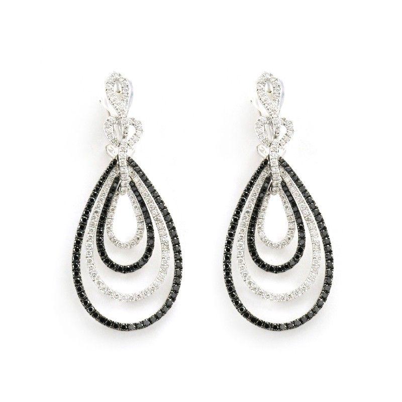 Finks Jewelers - Finks Black and White Diamond Pave Teardrop Earrings, $10,350.00 (http://finksjewelers.com/finks-black-and-white-diamond-pave-teardrop-earrings/)