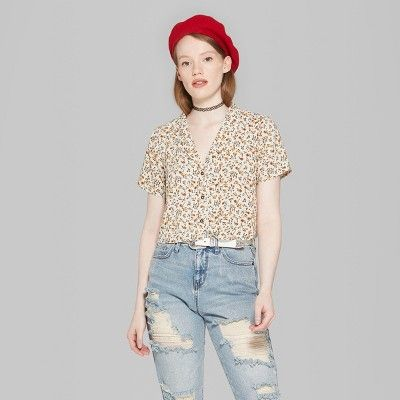 a3c9b89d Women's Floral Print Short Sleeve Cropped Button-Down Shirt - Wild Fable  Cream (Ivory) XL