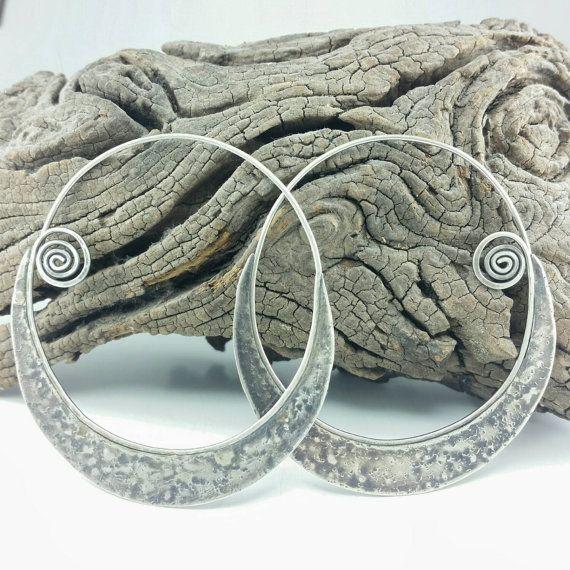 Sterling Silver Crescent Moon Hoops Unusual Jewelry by MoxZMetal