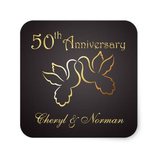 Golden Wedding Anniversary Invitations 50th Love Birds   Golden Love Birds 50th  Wedding Anniversary Sticker  
