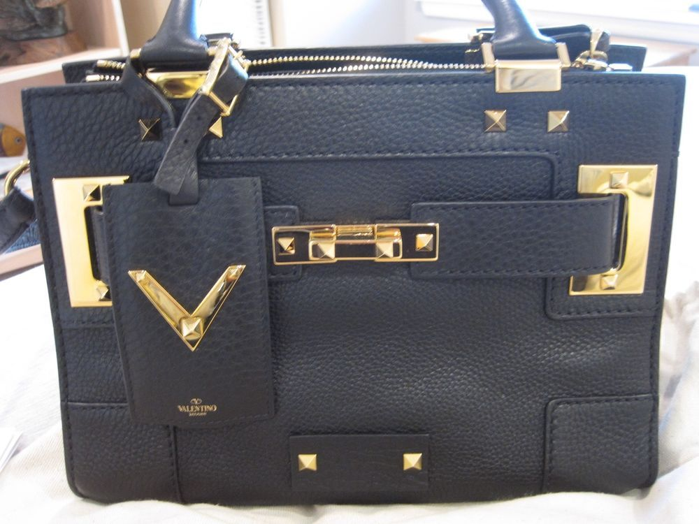 493120d716 VALENTINO MY ROCKSTUD SPIKED CALFSKIN LEATHER TOTE HAND BAG CROSS BODY BAG  SET!
