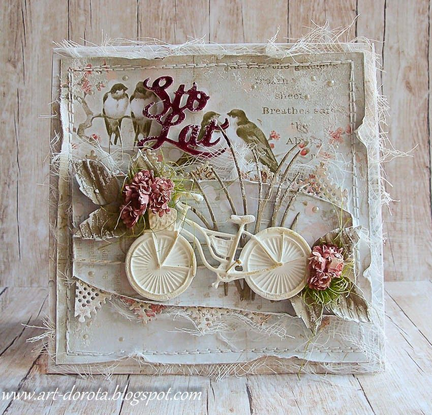 Цветы для, открытка с мешковиной